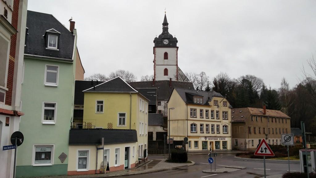 Blick zur Kirche in Mittweida